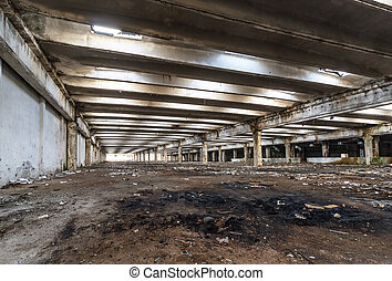 Ruins of industrial enterprise abandoned. - Interior of old...