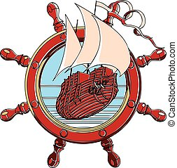 Badge with steering wheel - Vector badge with sail ship and...