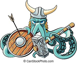 Octopus the Viking - Vector colourful illustration of...