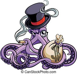 Octopus the Millionaire - Vector colourful illustration of...