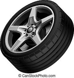 Aluminium alloy wheel isolated - High quality vector...
