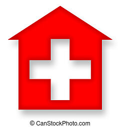 Red house with cross - Medical icon with hospital symbol or...