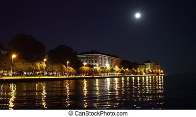 night view of the old city Zadar. - night view of the old...