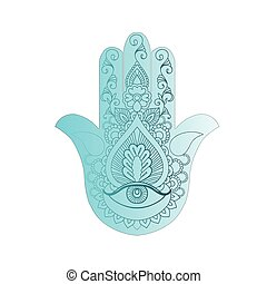 Sketch of a blue hamsa on a white background. - Sketch of...
