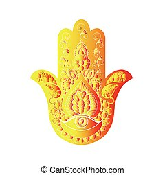 Sketch of a golden hamsa on a white background. - Sketch of...