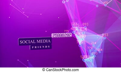 Social media background with dots connected lines - Abstract...