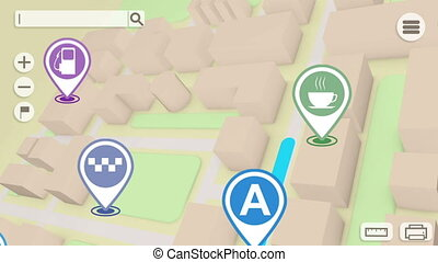 3d gps map navigation with 3d blocks and marks