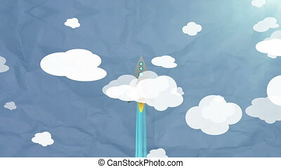 """Cartoon Flat rocket flying up though clouds"" - ""Cartoon..."