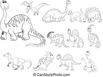 Animal outline for different types of dinosaurs illustration