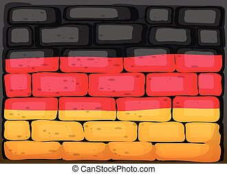 Germany flag on brickwall illustration