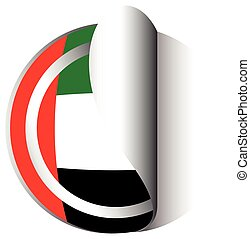 United Arab Emirates flag on round sticker illustration