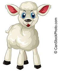 White lamb standing alone illustration