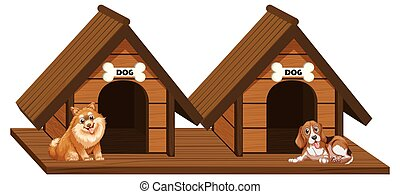 Two wooden doghouses with dogs illustration