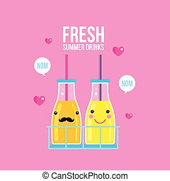 Bottles of smoothie and juice Fresh summer drink Vector...