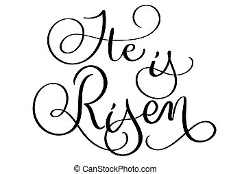 He is risen text on white background. Hand drawn vintage...