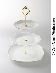 tray or three tier serving tray on a background. - tray or...
