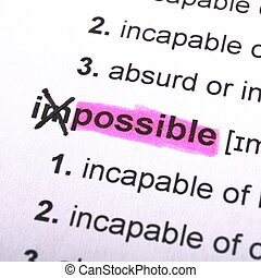 possible or impossible concept with word showing motivation...