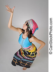 Dancing pose with Chinese traditional colorful dress, Dai...