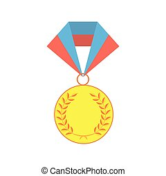Gold medallion isolated on a white background. Gold awards...