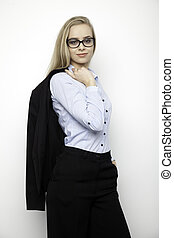 blonde woman - business concept - portrait of a beauty young...