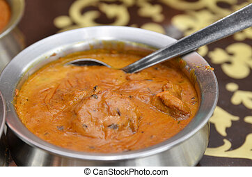 Bowl of indian mutton curry - Close up of a bowl of indian...