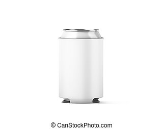 Blank white collapsible beer can koozie mockup isolated, 3d...