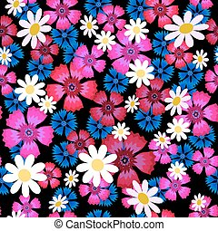 carnations, cornflowers and daisies-01 - Seamless pattern...