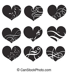 set of black vector hearts with flourish. Hand drawn vintage Calligraphy lettering Vector illustration EPS10