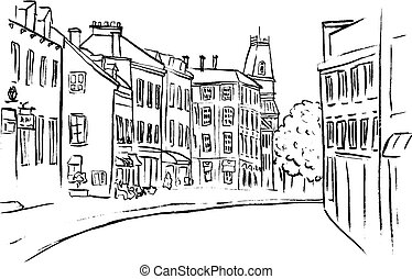 St Jean Street in Quebec - Sketch of St Jean Street in...