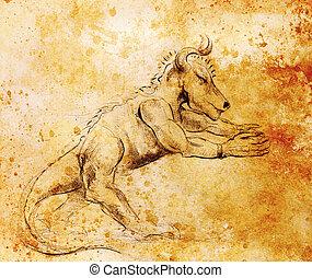 antigas, monstro, efeito, Original, mão, papel, desenhar,...