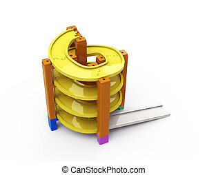 Spiral track in stacking blocks, 3D illustration - Yellow...