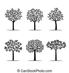 Set Black Trees with Leafs. Vector Illustration.