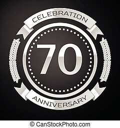 Seventy years anniversary celebration with silver ring and ribbon on black background. Vector illustration