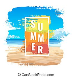 Summer banner, tropical beach, color frame
