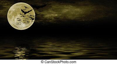 spooky halloween background for design - Bat flying over...