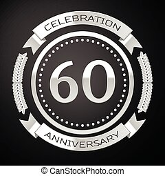 Sixty years anniversary celebration with silver ring and ribbon on black background. Vector illustration