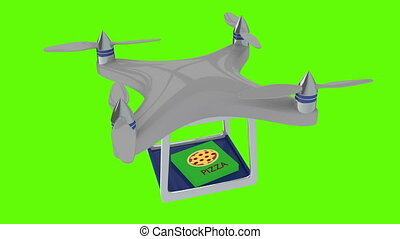 Animation of drone deliver pizza - Shot of Animation of...