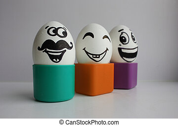 Eggs with a cute face. Photo for your design. Concept:...