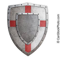 Old templar or crusader metal shield 3d illustration - Old...