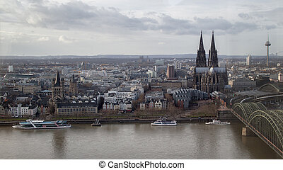 view on historical center of Cologne Cathedral from Rhine...