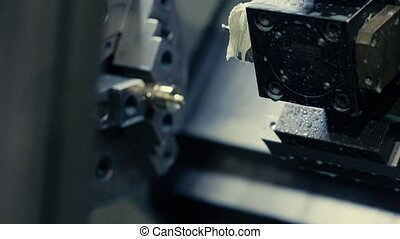CNC milling machine - Close up of CNC milling machine, 4K