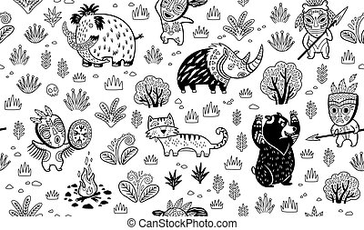 Stone Age vector pattern in outline - Ink seamless pattern...