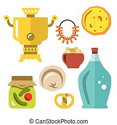 Vector Set of Russian Cuisine. Flat style colorful Cartoon illustration.