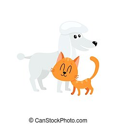 poodle dog and red cat, kitten characters, friendship concept
