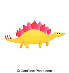 Cute and funny smiling baby stegosaurus, dinosaur character, decoration element