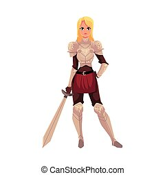 Beautiful blond woman dressed as medieval knight holding sword