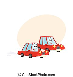 Two red car characters racing, hurrying somewhere at full...