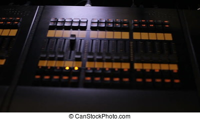 Audio sound mixer and amplifier equipment at a concert