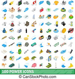 100 power icons set, isometric 3d style - 100 power icons...