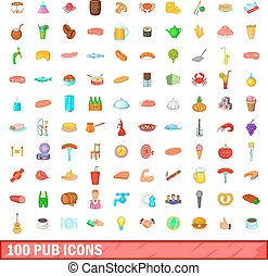100 pub icons set, cartoon style - 100 pub icons set in...